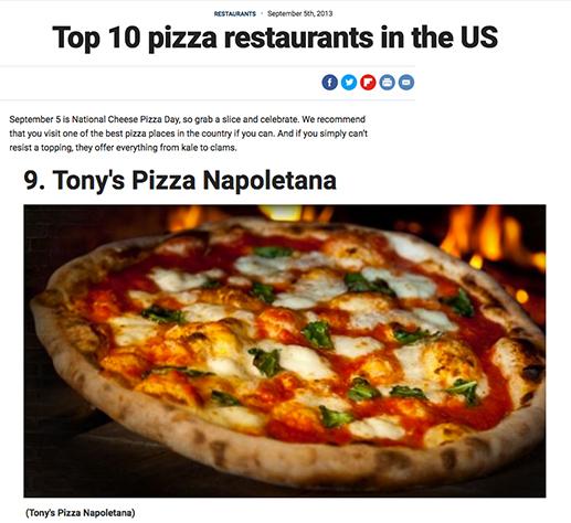 Top 10 Pizza Restaurants: Tony's Pizza Napoletana