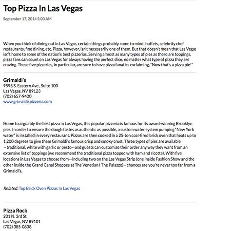 Top Pizza in Las Vegas
