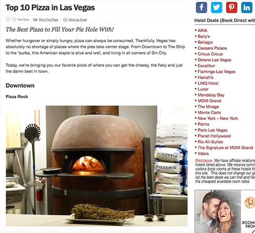 Top 10 Pizzas in Las Vegas