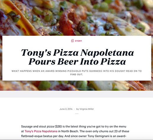 Zagat: TONY'S PIZZA NAPOLETANA POURS BEER INTO PIZZA
