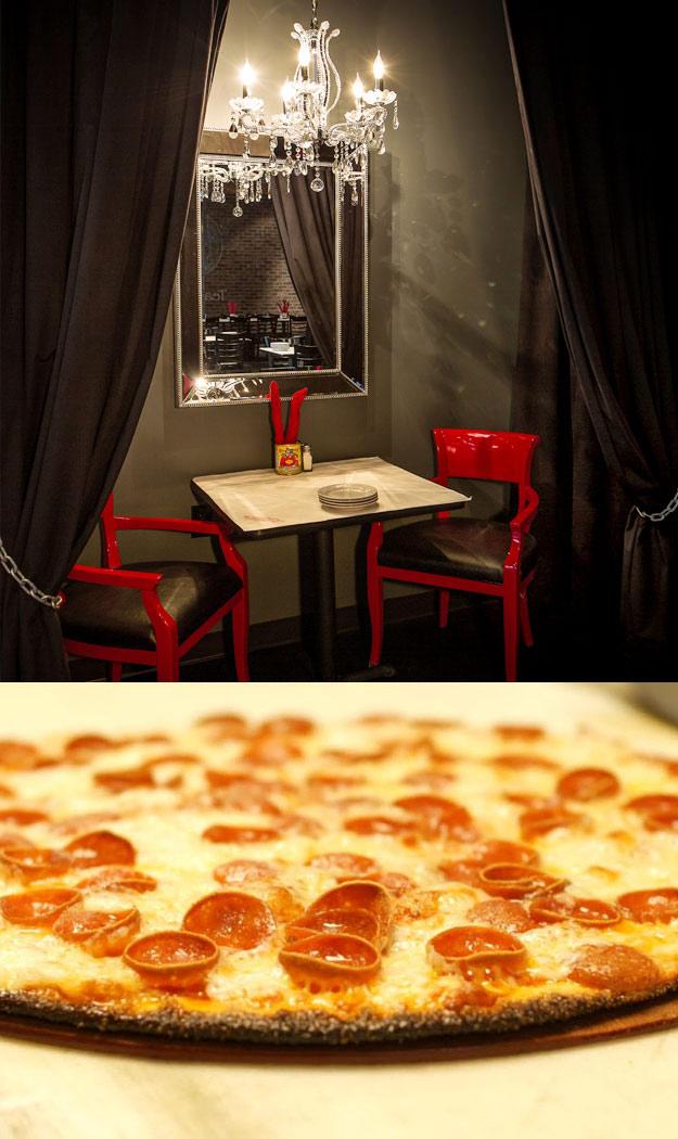 Pizza Rock interior and pizza